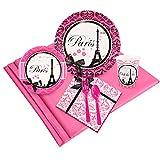 BirthdayExpress Paris Eiffel Tower Damask Party Supplies - Party Pack