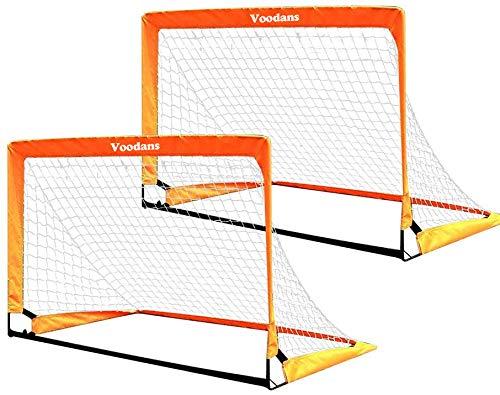 Voodans サッカーゴール サッカーネット 折りたたみ 2個セット 室外 室内 固定 ポップアップ式 収納袋付き