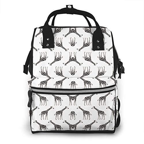 nbvncvbnbv Baby Wickeltasche Süßer schwarz-weißer Giraffenstoff (15048) Rucksack Wasserdichter Multifunktions-Reisetaschen für Windeln Kapazität Kreatives Modedesign Paket Lässige Tagesrucksäcke