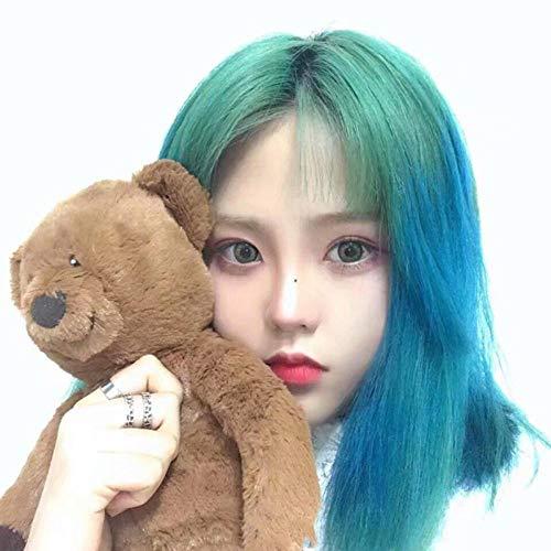 Perruque Femme Air Bangs Cheveux Raides Court Mode Vert Gradient Bleu Visage Rond Longs Cheveux Raides Cheveux Naturels Clavicule Cheveux @ Longue Section (50Cm)