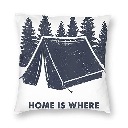 LiBei Cushion Cover Decorative Throw Pillow Cover Pine Tree And Camping Tent And Where Is The Tent Lettering Sofa Car Square Pillowcase for Home Bed Decor 50x50cm