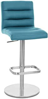 Zuri Furniture Teal Lush Flat Round Base Adjustable Height Swivel Armless Bar Stool