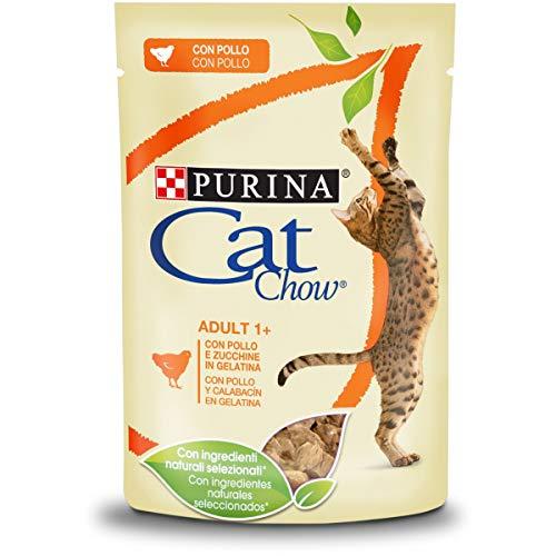 Purina Cat Chow Adult Gatto Umido con Pollo e Zucchine, 24 Buste da 85 g