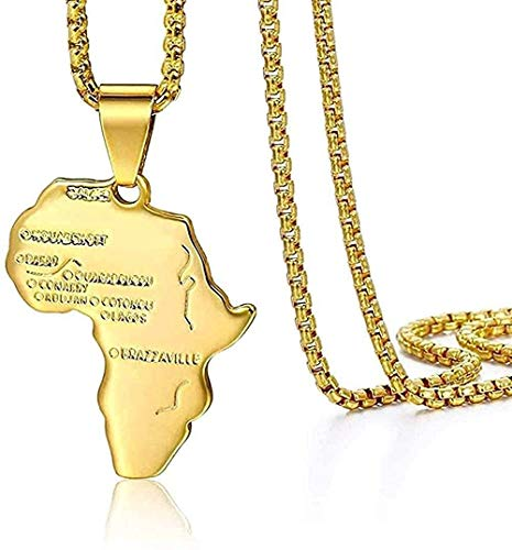 NC110 Necklace Gold Africa Map Pendant Necklace for Men Women African Map Pendant Hip Hop Ethiopian Jewelry with 24 Inch Chain Gift