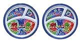 2-Pack Zak Designs Toddler Plate 3-Section 8' Round Dish (PJ Masks)