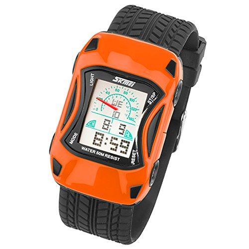 Taffstyle Kinder Armbanduhr Silikon Sportuhr Bunte Uhr Stoppuhr Auto Motiv mit Alarm Digital Quartz Orange