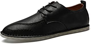 Sygjal Men's Oxfords Shoes Lace up Casual Solid Color Shoes (Color : Dark Brown, Size : 39 EU)