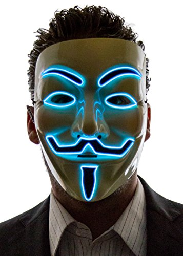 NEON NIGHTLIFE Light Up V for Vendetta Anonymous LED mask, Guy Fawkes Mask, One Size, Blue