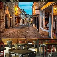 Iusasdz カスタム壁画写真壁紙3Dヨーロッパのストリートタウン風景壁布レストランカフェ背景壁装家の装飾-280X200Cm