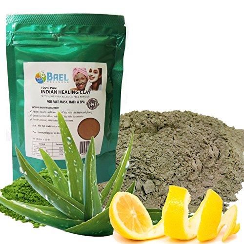 Clay Mask - Bentonite, Aloe Vera & Lemon Peel Powder. Indian Healing Clay, Fullers Earth Powder for Facial Mask, Hair, Bath & Spa
