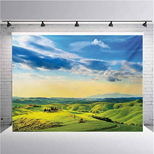 Tuscany Photography Background Cloth Sunset in Tuscany Rural Farmand Cypresses Trees Sunlight Volterra Italy for Photography,Video and Televison 5ftx3ft Sky Blue Pale Green