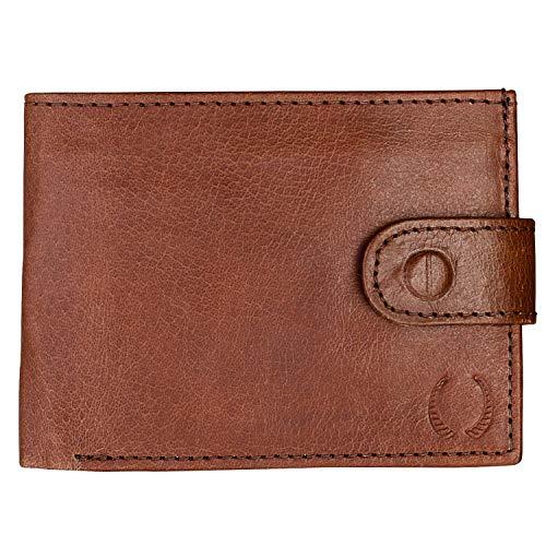 Pelle Toro Handgemachte Herren Geldbörse Leder mit Münzfach, Geschenkbox aus Holz, RFID Schutz, Weich Haltbar Leder, Braun Kakao
