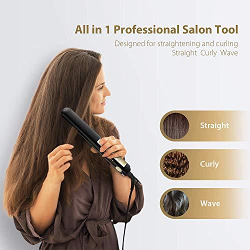 KIPOZI Pro Titanium Flat Iron 1 Inch Hair Straightener 450℉ High Heat Anti Frizz 2 in 1 Straightening Curly Thick Hair Dual Voltage for Travel, LCD Display, Matt Black