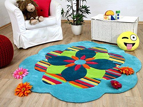 Lifestyle Kinderteppich Funny Flower Türkis Rund !!! Sofort Lieferbar !!!