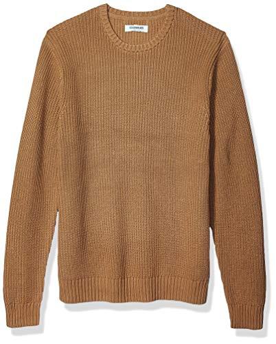 Amazon Brand - Goodthreads Men's Soft Cotton Rib Stitch Crewneck Sweater, Camel Medium
