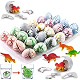iGeeKid 24Pcs Dinosaur Eggs Toys Grow in Water Pool Dive Toys Science Kits Hatching Egg Crack Novelty Toy Mini Dino Egg with Assorted Color for Toddler Kids 3-10 Boys Girls Birthday Gift