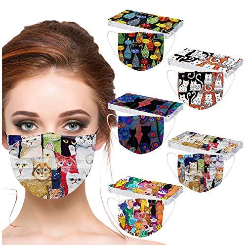 50PCS Adult Disposable Maska, Cat Printing (10pcs Per Printing) 3ply Breathable Dụst Face_Bandanas Men Women Màsks for Coronàvịrụs Protectịon Outdoor