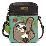 Chala Crossbody Cell Phone Purse - Women PU Leather Multicolor Handbag with Adjustable Strap - Sloth Teal
