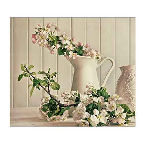 banjado Herdabdeckplatte aus Glas | Herdabdeckung einteilig 60x52cm | Spritzschutz für Ceranfeld oder Induktionsherd | Schneidebrett perfekt für die Küche mit Motiv Stillleben Kirschblüten
