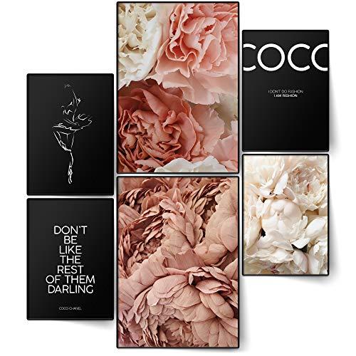 BLCKART Infinity Premium Poster Set Coco Stilvolle Doppelseitige Poster Wohnzimmer Deko | 2X A3 | 4X A4 | ohne Rahmen (Coco Peonies Black | 6er, Ohne Rahmen)
