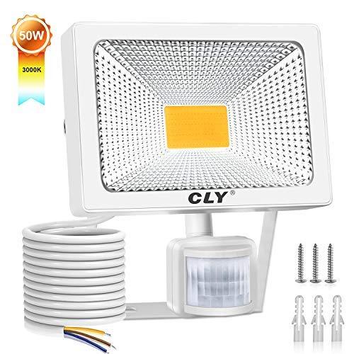 CLY 50W Foco LED Proyector,5000 Lúmenes de focos LED Exterior,IP66 LED Exterior con Sensor de Movimiento Blanco cálido 3000K para Exterior Iluminación(Jardín, Garaje,PatioCamino, Escalera etc)