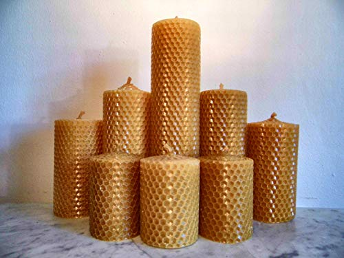 Norfolk Beeswax Company - 100% Pure Beeswax Pillar Candle Gift Set - 8 Individual Candles Plus Free Delivery to All UK Postcodes