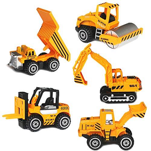 YIMORE Camiones Juguetes, Mini Coches Vehículos de Construcción, Pack de 5 Vehículos, Educación Regalos para Niños de 3 4 5 Años