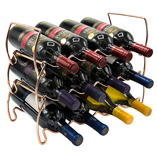 Botellero Metal Cromado, Vinoteca para 12 Botellas Soporte para Botellas Vino Agua Y Refrescos, para Frigorífico Despensa