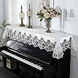 ピアノカバー トップカバー アップライト キーボード 電子ピアノ ピアノ カバー 鍵盤カバー フリーサイズ (間口135-160cm通用) レース ベルベット 花柄 刺繍 直立型 爽やか ホワイト おしゃれ 上品 高級感 優雅 エレガント フリル HIMENO