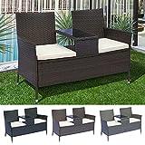 EIVD Juego de 2 piezas para patio, sillas de mimbre negras para exteriores, juego de muebles de patio, cojín (color: marrón)