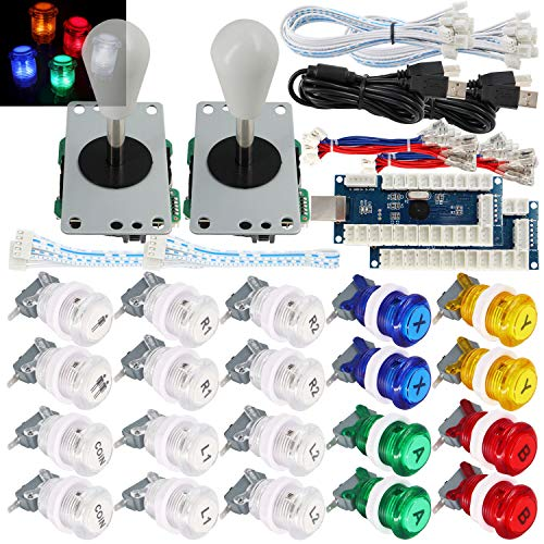 SJ@JX 2 Player Arcade Game Stick DIY Kit Buttons with Logo LED 8 Way Joystick USB Encoder Cable Controller for PC MAME Raspberry Pi Color Mix