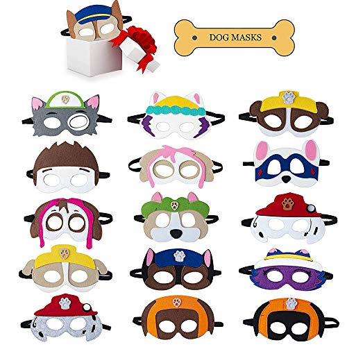 Sinwind Cosplay Party Masken, Paw Dog Patrol Spielzeug Puppy Party Masken 16 Stück Kinder Geburtstag Augen Masken passen Geburtstagsparty Maskerade Halloween für Kinder Geschenke (16 Farben)