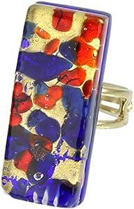 GlassOfVenice Anillo ajustable rectangular de cristal veneciano de Murano - azul rojo