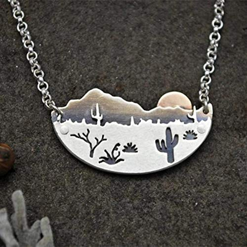 N/A Necklace pendant Stylish Desert Sun Women Necklaces Silver Color Cactus Pendant Necklace Prom Party Jewelry Christmas birthday Gift