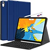 iPad Pro 11 Keyboard Case 2018 - Detachable Wireless Keyboard [Support Apple Pencil Charging] - PU Leather Folio Stand Cover with Pencil Holder for iPad Pro 11 Inch 2018, Blue