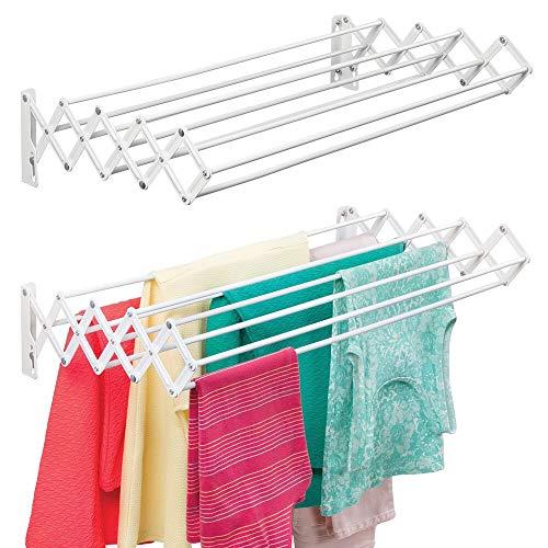 mDesign Tendedero extensible de metal – Práctico tendal plegable con 9 barras para secar ropa en el lavadero – Compacto tendedero de pared tipo acordeón, ideal para ahorrar espacio – blanco