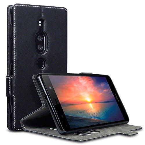 TERRAPIN, Kompatibel mit Sony Xperia XZ2 Premium Hülle, Leder Tasche Hülle Hülle im Bookstyle mit Standfunktion Kartenfächer - Schwarz