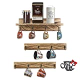 DeCuLo Coffee Mug Holder with Metal Coffee Sign, Coffee Mug Rack Wall Mounted, Rustic Style Wooden Coffee Cup Holder with 12 Hooks for Home, Kitchen Display Storage and Collection (Brown & Black)