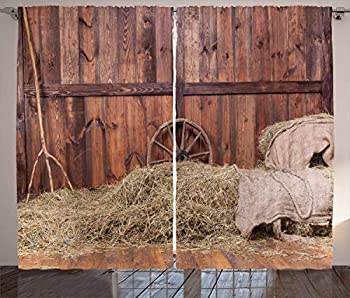 Ambesonne Barn Wood Wagon Wheel Curtains Rural Old Horse Stable Barn Interior Hay and Wood Planks Image Print Living Room Bedroom Window Drapes 2 Panel Set 108  X 84  Brown Dust