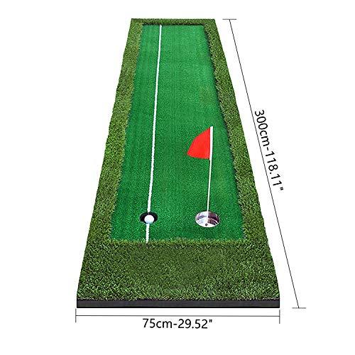 AKOZLINゴルフパット練習器具パター練習器具セットパッティングマットゴルフ練習用パターマツト屋内ゴルフパッティングマットゴルフ練習用パターマツトパターマット工房ゴルフ練習パターマットセット裏面滑り止め仕様1組のフラグ付き特大サイズ300×75cm[グリーン/パッティング/アプローチ]
