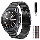 Intoval Band for Samsung Galaxy Watch 3 41mm / Watch 42mm / Active 2 / Active 1 / Gear Sport, Premium Stainless Steel Bands with Link Adjustment Tool (20mm Strap, Black)
