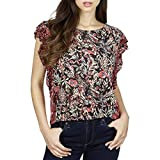 Lucky Brand Women's Mixed Print Ruffle Top, red/Multi, Small