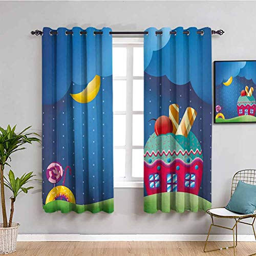 Cartoon Soundproof Privacy Window Curtains Fantasy Style Cupcake House with Candies Lollipops Clouds and Sun Sweet Landscape Repeatable use W84 x L84 Inch Multicolor