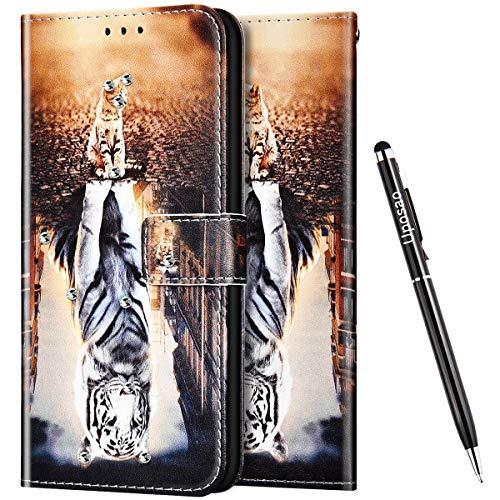 Uposao Kompatibel mit Samsung Galaxy S9 Hülle Leder Handyhülle Glitzer 3D Bling Strass Diamant Wallet Hülle Klapphülle Brieftasche Schutzhülle Flip Case Magnetisch Kartenfach,Braun Katze
