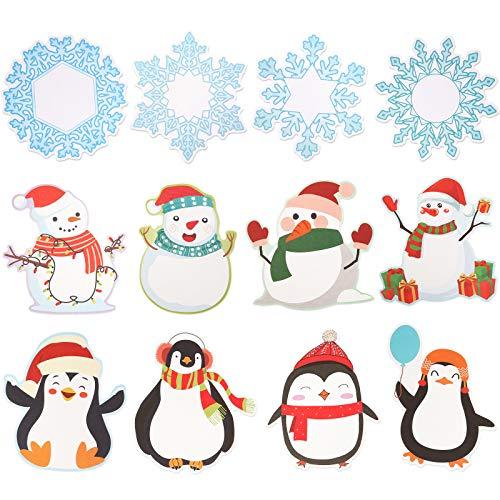 72 Piezas Recortes de Mezcla de Colores de Invierno Recorte de Decoración de Aula Pingüino Muñeco de Nieve Copos de Nieve para Fiesta Navidad Escuela Tablón de Anuncios