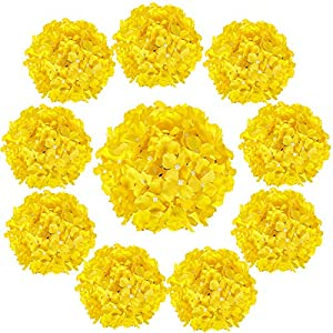 Luyue Silk Hydrangea Heads Artificial Decoration Flowers Garden Floral Decor,Pack of 10