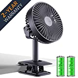 Battery Operated Clip Fan for Baby Stroller, 4000 mAh Portable Desk Fan with 4 Speeds, Rechargeable USB Personal Fan for Camping, Adjustable Angle, Quieter, Strong Fan for Office, Home, Travel, 6 inch