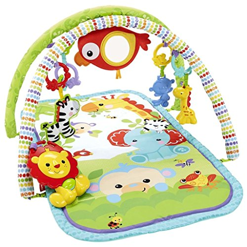 Fisher-Price Amis de la Jungle 3-en-1 Tapis d'Éveil Musical pour Bébé, Transportable, 2 Arches de Jeu, 5 Jouets Amovibles, dès la Naissance, CHP85