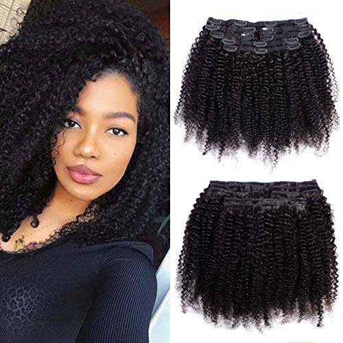 VTAOZI Afro Kinky Curly Hair Extensions Clip in Human Hair for Black Women 8A Brazilian 4B 4C Afro Kinky Curly Clip ins Hair Extensions Natural Color 7Pcs 120G/Set (16 Inch)
