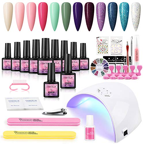 Fashion Zone Gel Nail Polish Starter Kit with 36W LED Nail Dryer Lamp, 12 Color Gel and Base Top Coat Set, Manicure Nail Tools